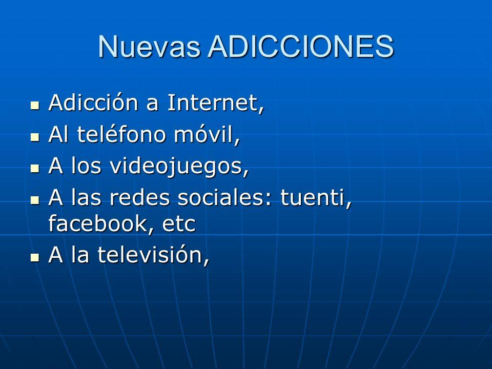 Nuevas ADICCIONES Adicción a Internet, Adicción a Internet, Al teléfono móvil, Al teléfono móvil, A los videojuegos, A los videojuegos, A las redes so
