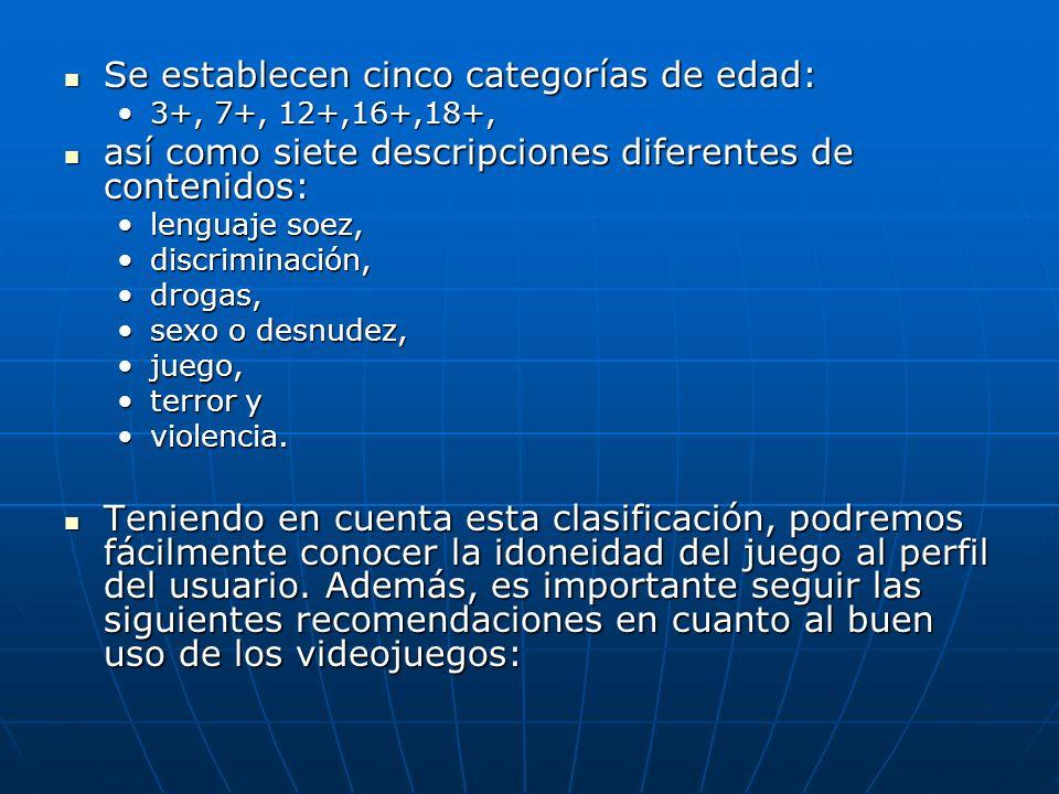 Se establecen cinco categorías de edad: Se establecen cinco categorías de edad: 3+, 7+, 12+,16+,18+,3+, 7+, 12+,16+,18+, así como siete descripciones
