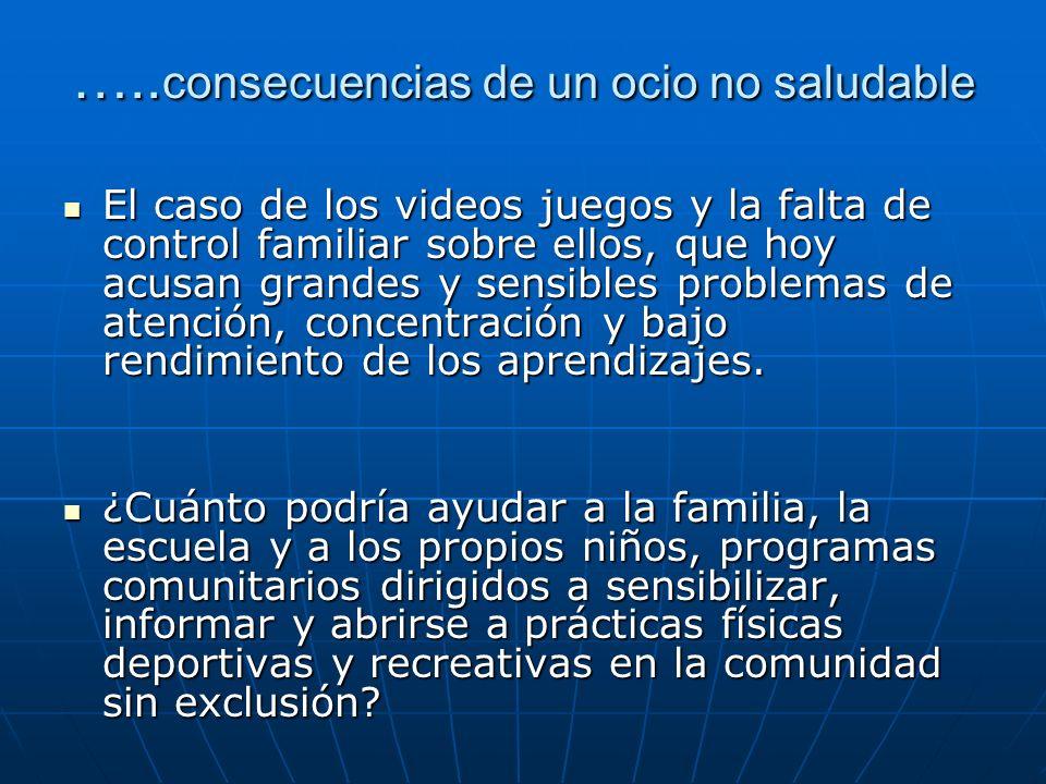 ….. consecuencias de un ocio no saludable El caso de los videos juegos y la falta de control familiar sobre ellos, que hoy acusan grandes y sensibles