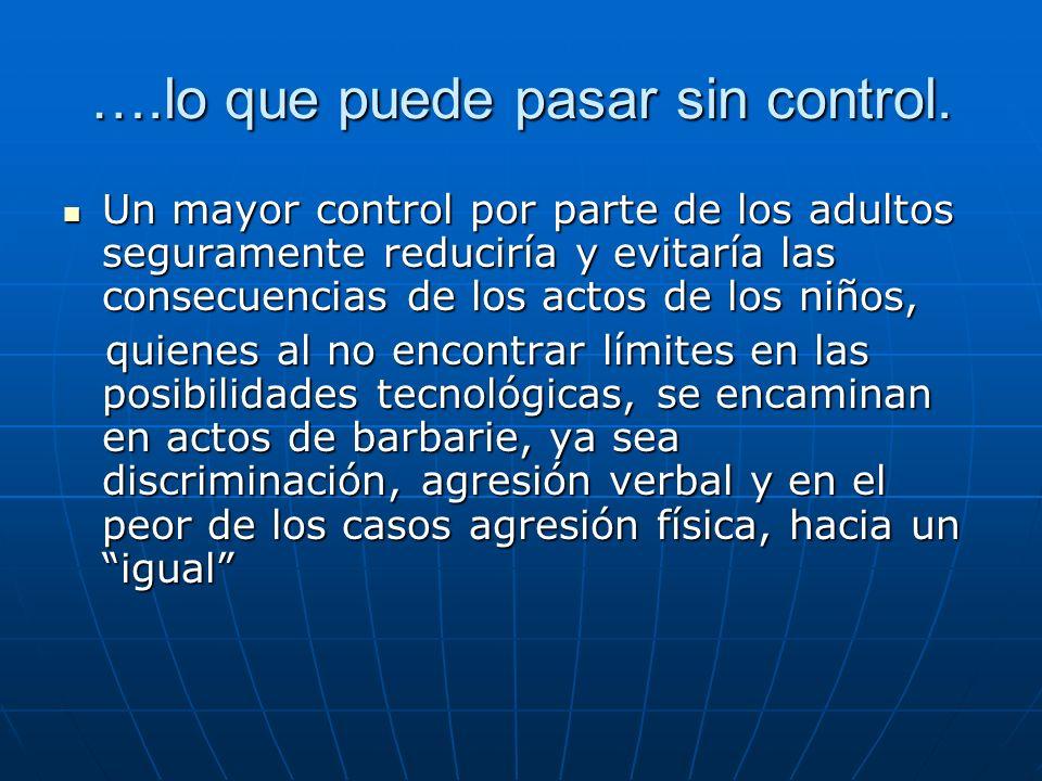 ….lo que puede pasar sin control. Un mayor control por parte de los adultos seguramente reduciría y evitaría las consecuencias de los actos de los niñ
