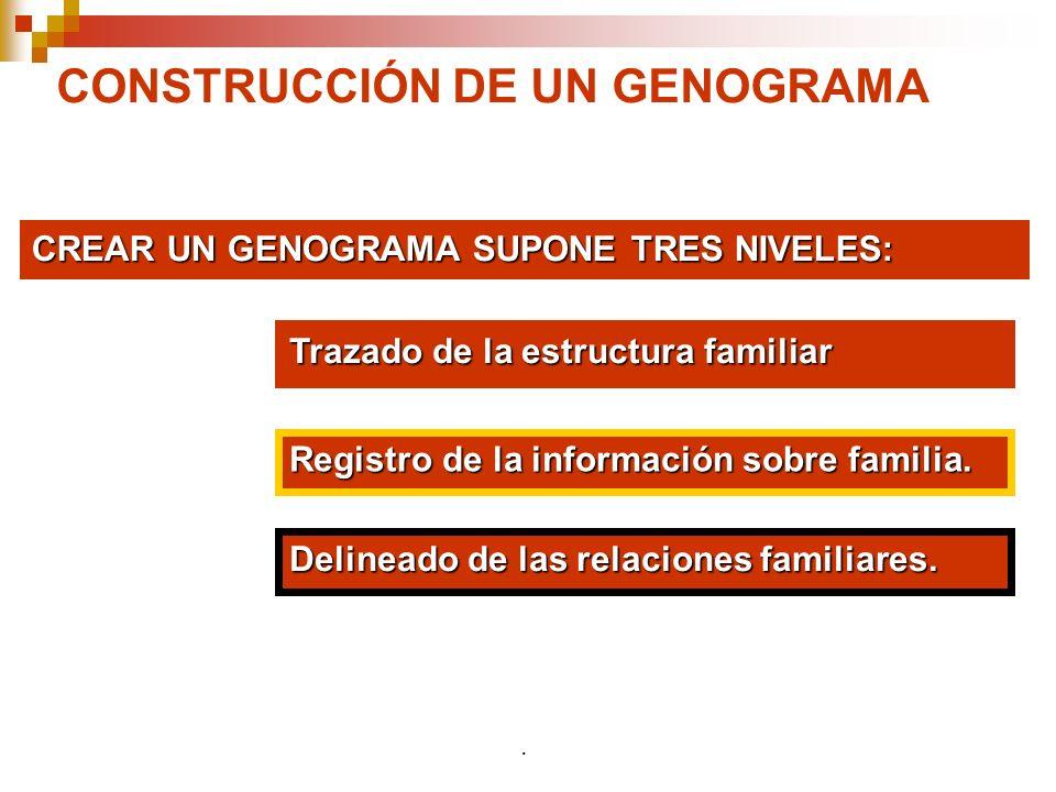 CONSTRUCCIÓN DE UN GENOGRAMA CREAR UN GENOGRAMA SUPONE TRES NIVELES: Trazado de la estructura familiar Registro de la información sobre familia. Delin