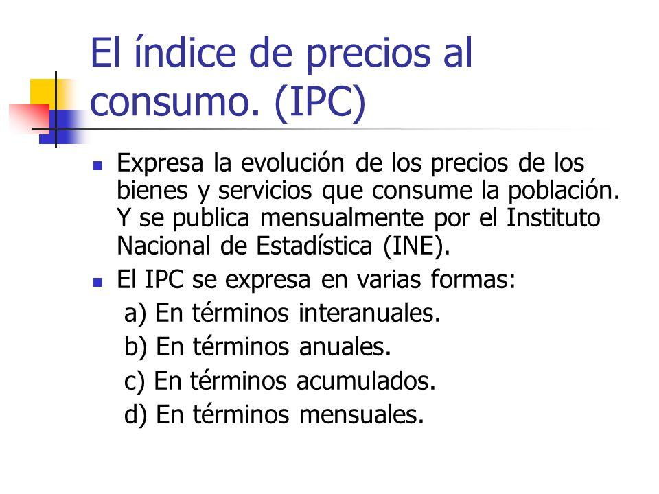 El índice de precios al consumo. (IPC) Expresa la evolución de los precios de los bienes y servicios que consume la población. Y se publica mensualmen