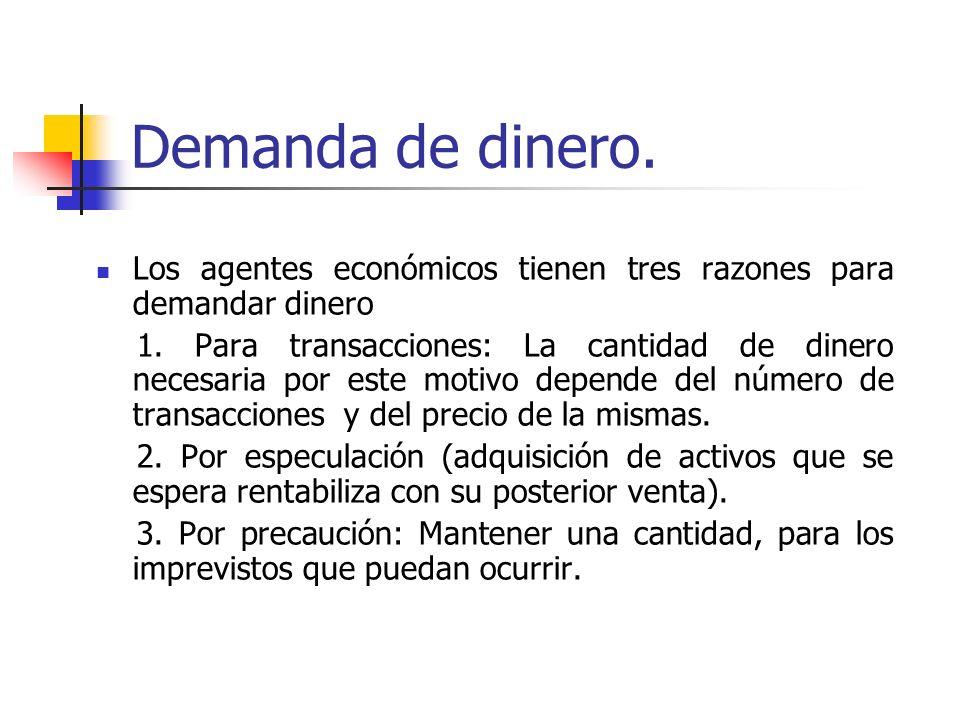 Demanda de dinero. Los agentes económicos tienen tres razones para demandar dinero 1. Para transacciones: La cantidad de dinero necesaria por este mot