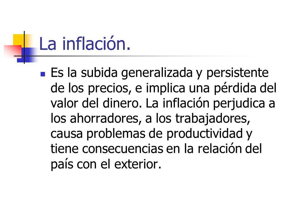 La inflación. Es la subida generalizada y persistente de los precios, e implica una pérdida del valor del dinero. La inflación perjudica a los ahorrad