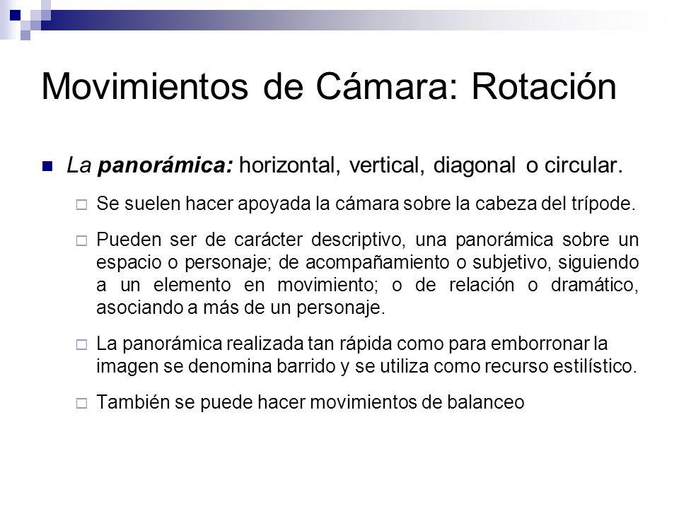 Movimientos de Cámara: Rotación La panorámica: horizontal, vertical, diagonal o circular. Se suelen hacer apoyada la cámara sobre la cabeza del trípod