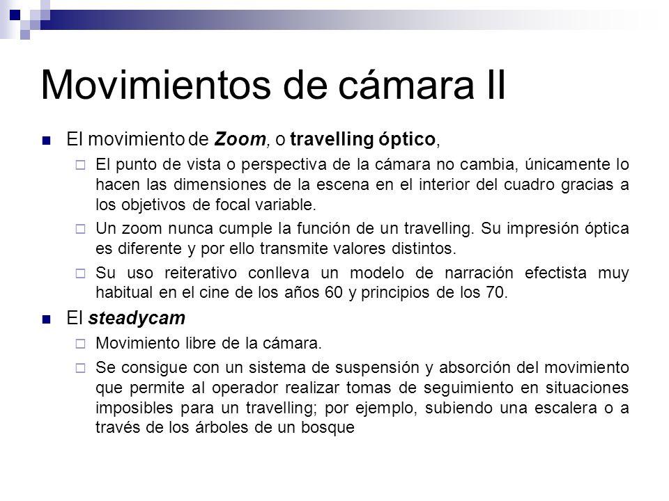 Movimientos de cámara II El movimiento de Zoom, o travelling óptico, El punto de vista o perspectiva de la cámara no cambia, únicamente lo hacen las d