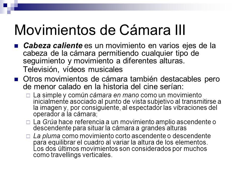 Movimientos de Cámara III Cabeza caliente es un movimiento en varios ejes de la cabeza de la cámara permitiendo cualquier tipo de seguimiento y movimi