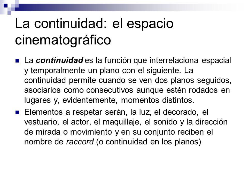 La continuidad: el espacio cinematográfico La continuidad es la función que interrelaciona espacial y temporalmente un plano con el siguiente. La cont