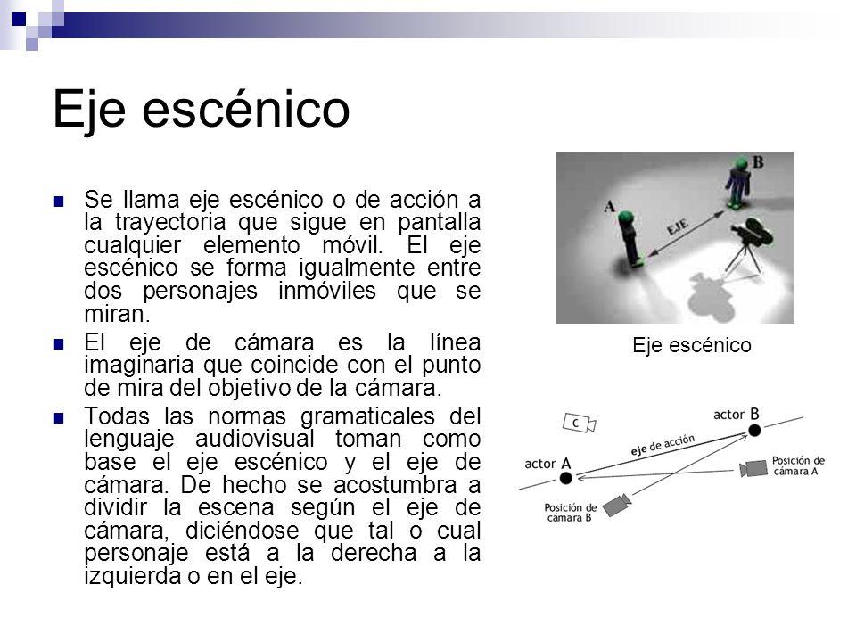 Eje escénico Se llama eje escénico o de acción a la trayectoria que sigue en pantalla cualquier elemento móvil. El eje escénico se forma igualmente en