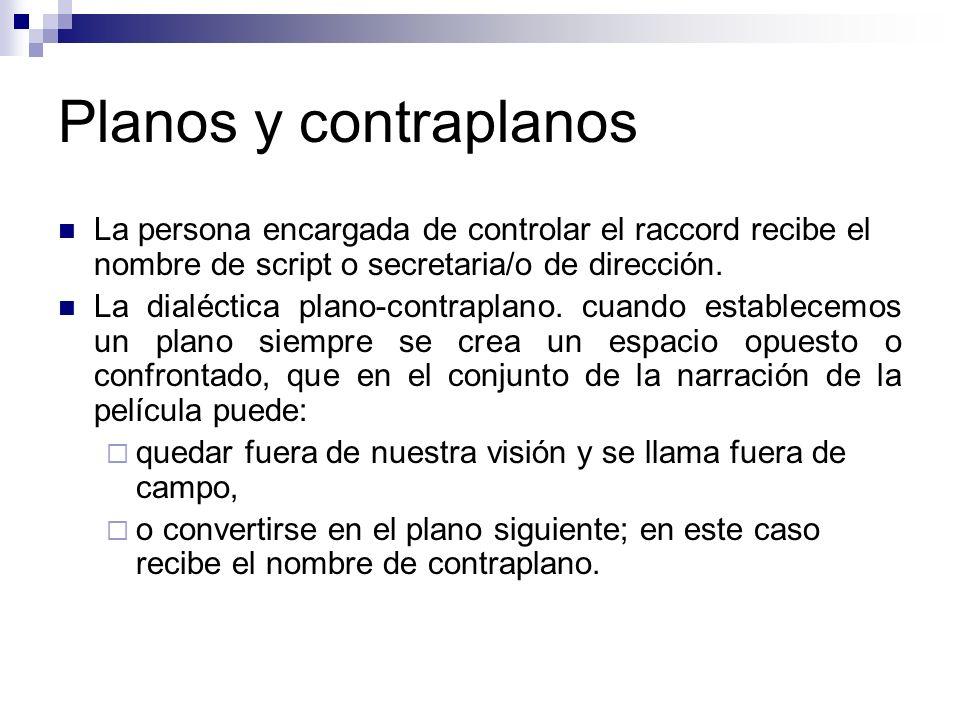Planos y contraplanos La persona encargada de controlar el raccord recibe el nombre de script o secretaria/o de dirección. La dialéctica plano-contrap