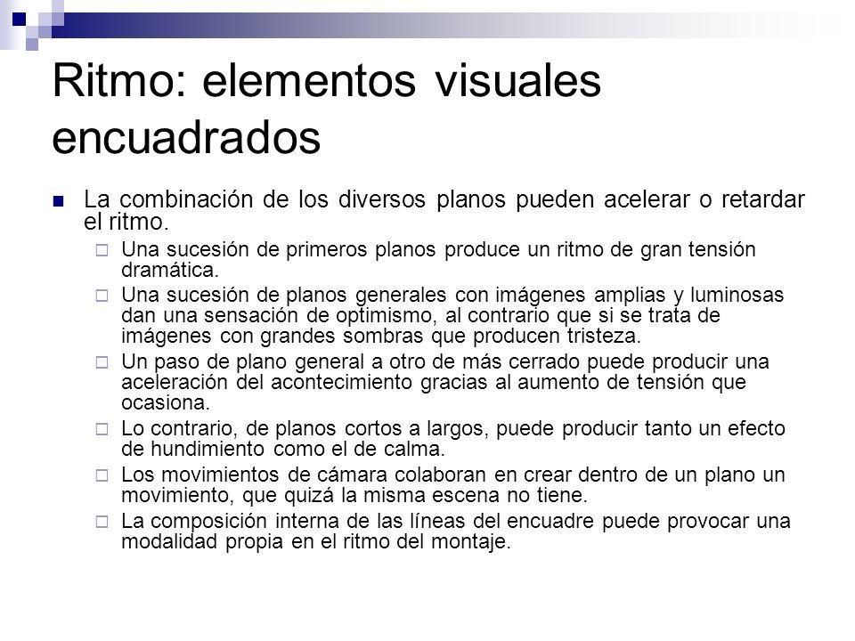Ritmo: elementos visuales encuadrados La combinación de los diversos planos pueden acelerar o retardar el ritmo. Una sucesión de primeros planos produ