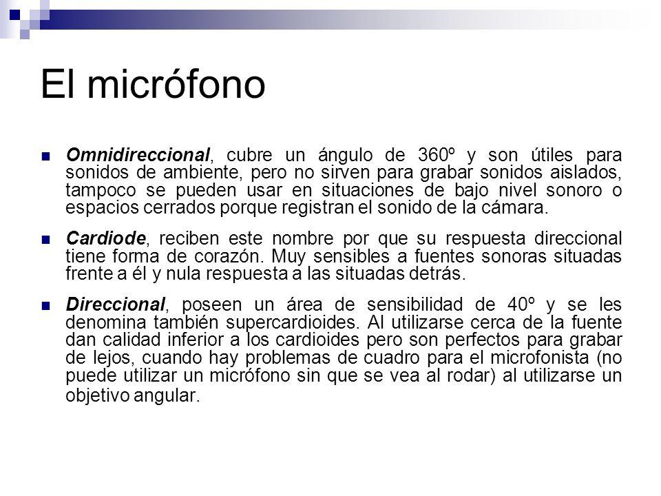 El micrófono Omnidireccional, cubre un ángulo de 360º y son útiles para sonidos de ambiente, pero no sirven para grabar sonidos aislados, tampoco se p