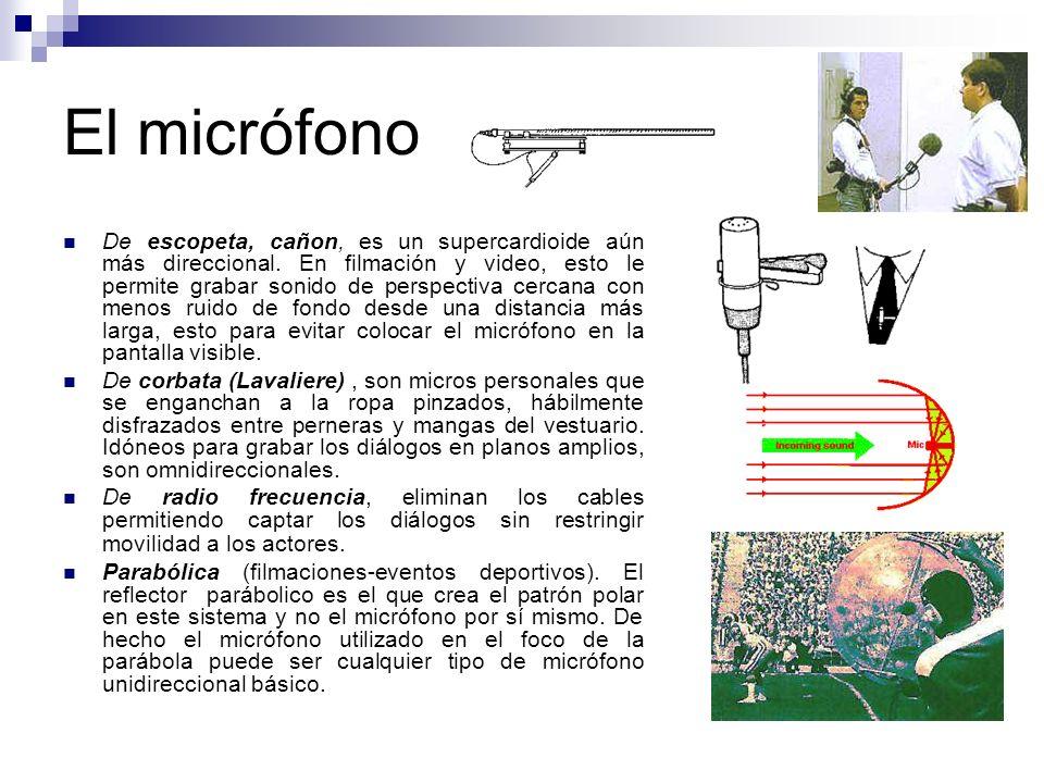 El micrófono De escopeta, cañon, es un supercardioide aún más direccional. En filmación y video, esto le permite grabar sonido de perspectiva cercana