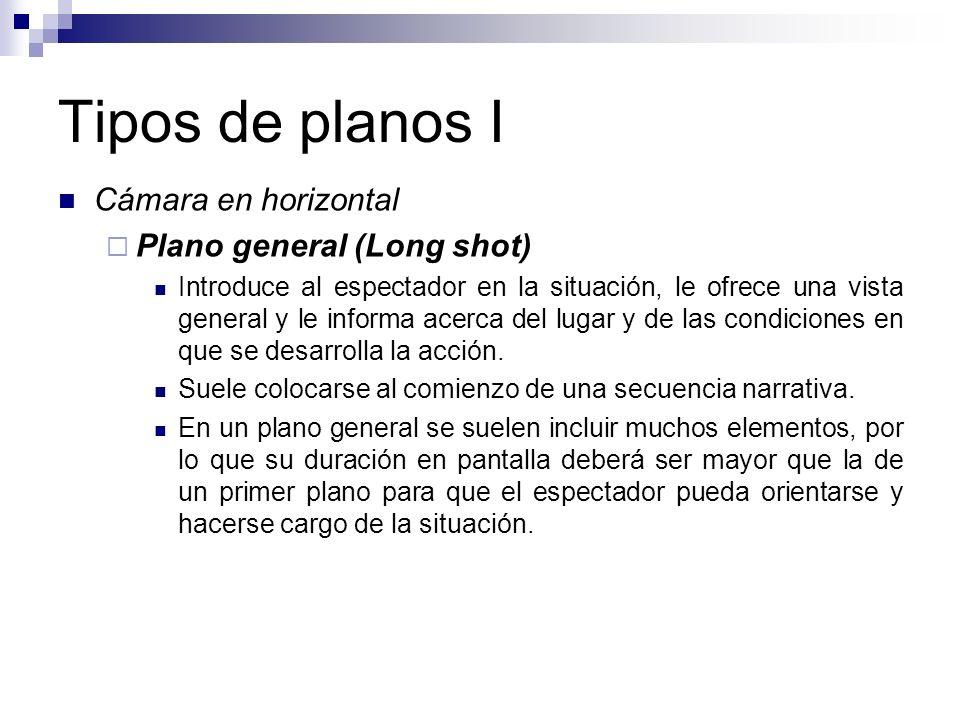 Tipos de planos I Cámara en horizontal Plano general (Long shot) Introduce al espectador en la situación, le ofrece una vista general y le informa ace