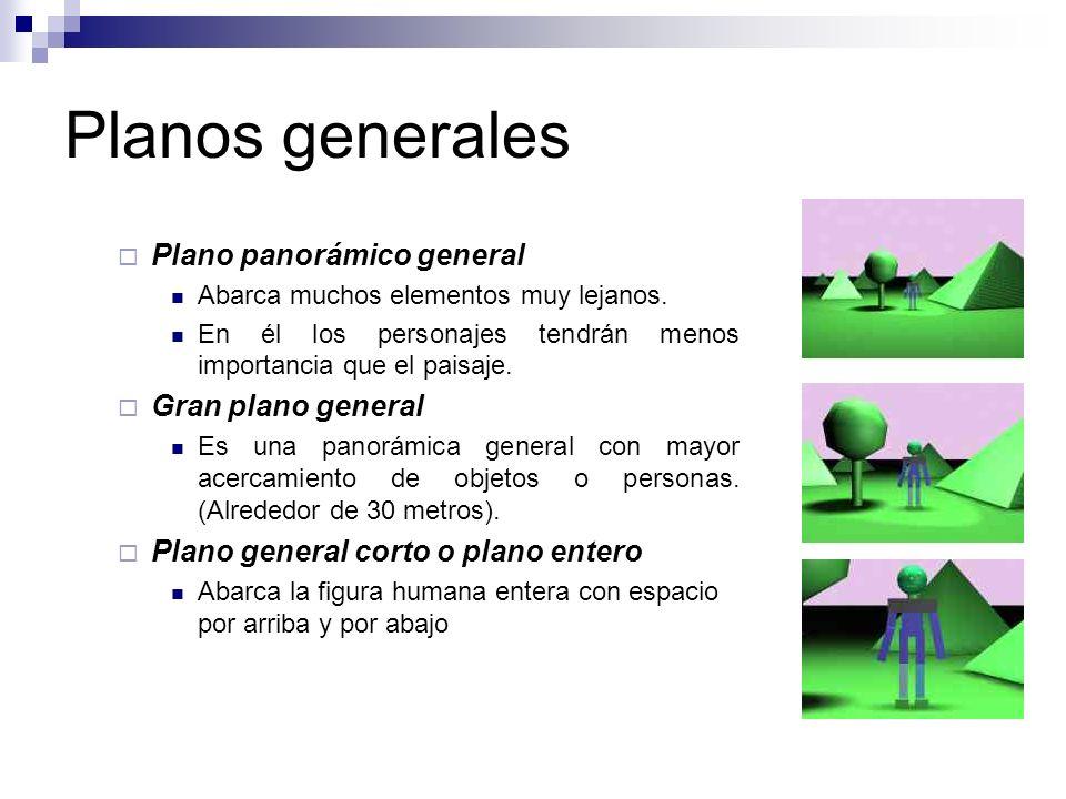 Planos generales Plano panorámico general Abarca muchos elementos muy lejanos. En él los personajes tendrán menos importancia que el paisaje. Gran pla
