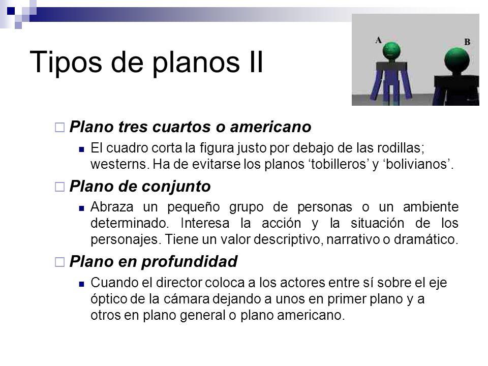 Tipos de planos II Plano tres cuartos o americano El cuadro corta la figura justo por debajo de las rodillas; westerns. Ha de evitarse los planos tobi