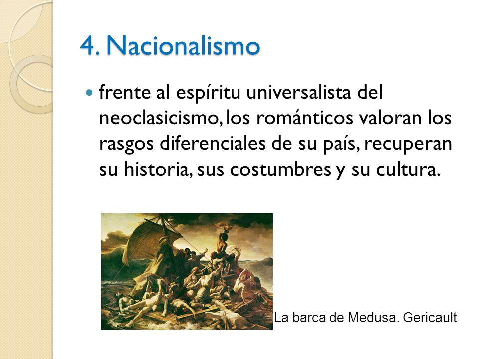 4. Nacionalismo frente al espíritu universalista del neoclasicismo, los románticos valoran los rasgos diferenciales de su país, recuperan su historia,