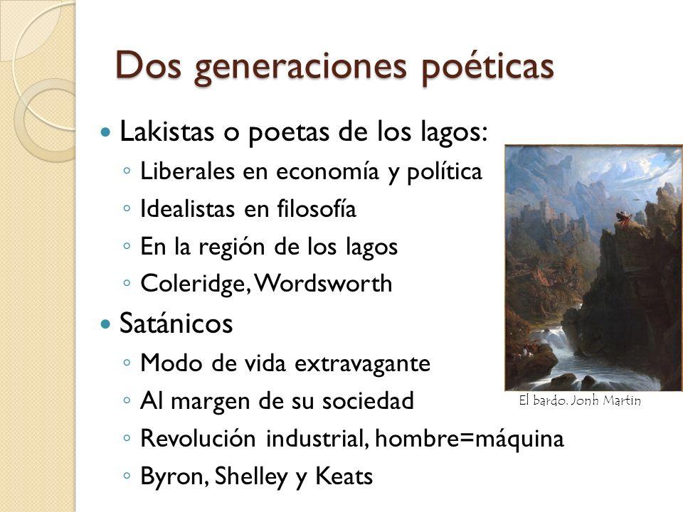Dos generaciones poéticas Lakistas o poetas de los lagos: Liberales en economía y política Idealistas en filosofía En la región de los lagos Coleridge