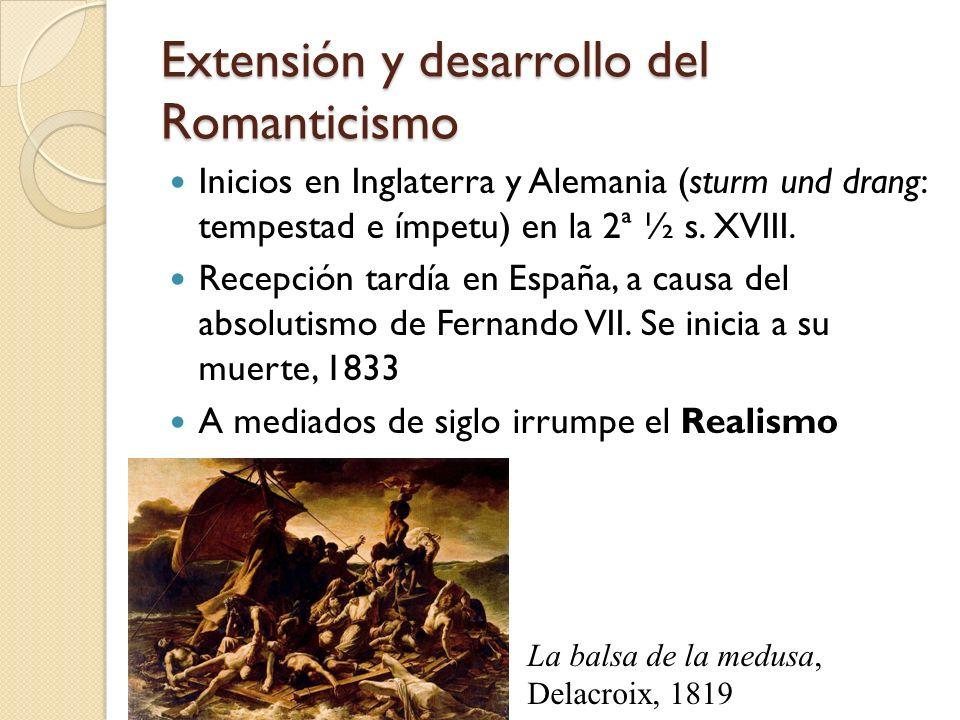 Extensión y desarrollo del Romanticismo Inicios en Inglaterra y Alemania (sturm und drang: tempestad e ímpetu) en la 2ª ½ s. XVIII. Recepción tardía e