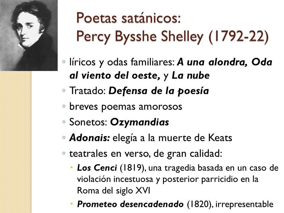 Poetas satánicos: Percy Bysshe Shelley (1792-22) líricos y odas familiares: A una alondra, Oda al viento del oeste, y La nube Tratado: Defensa de la p