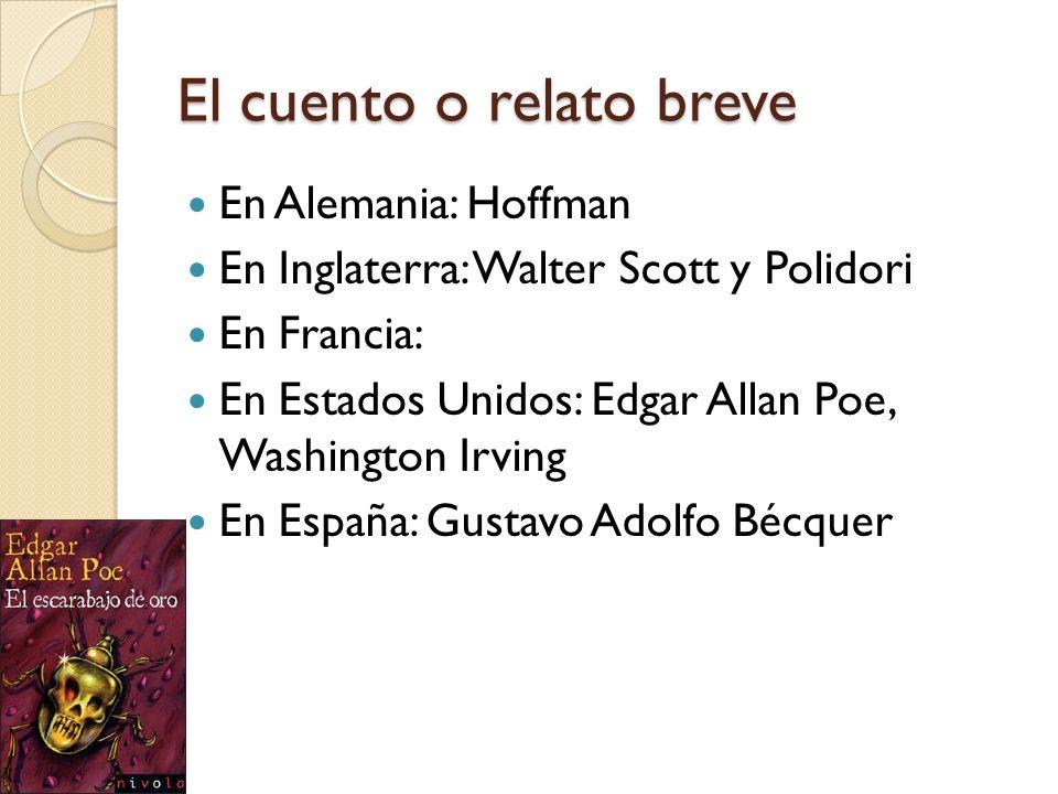 El cuento o relato breve En Alemania: Hoffman En Inglaterra: Walter Scott y Polidori En Francia: En Estados Unidos: Edgar Allan Poe, Washington Irving
