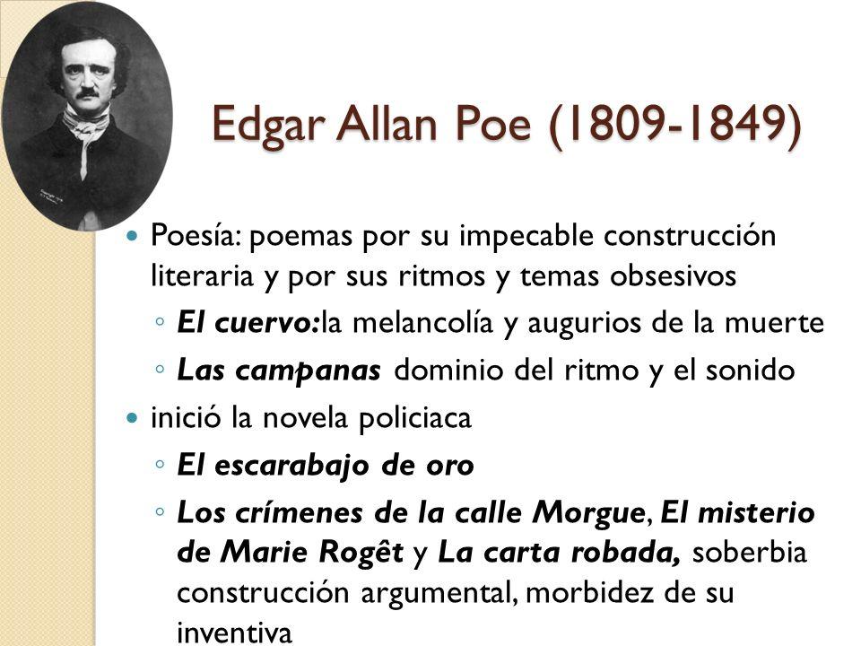 Edgar Allan Poe (1809-1849) Poesía: poemas por su impecable construcción literaria y por sus ritmos y temas obsesivos El cuervo:la melancolía y auguri