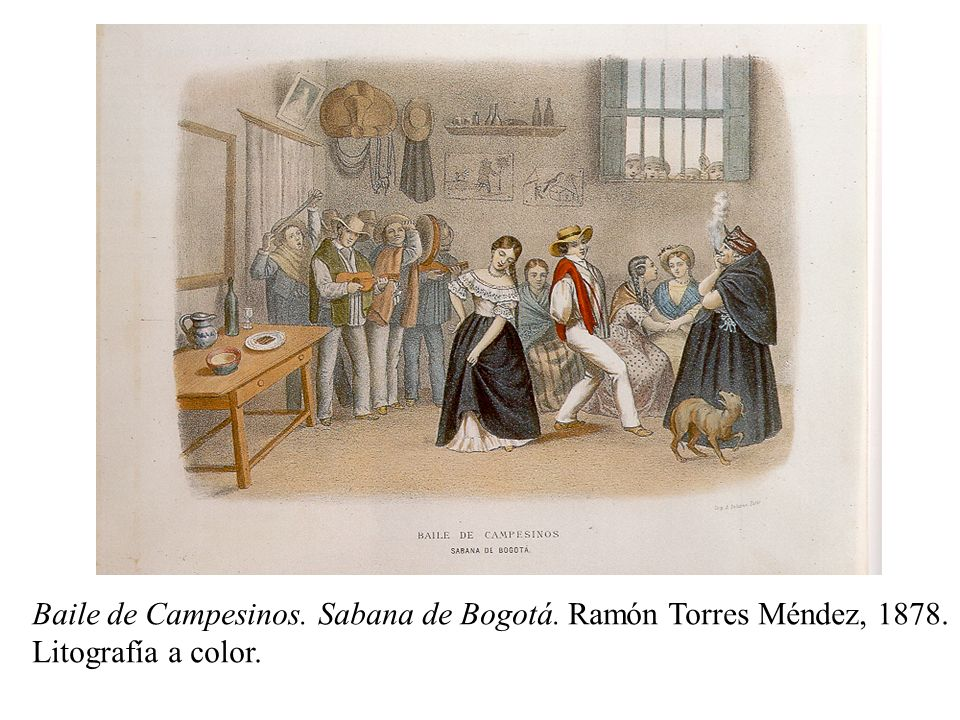 Baile de Campesinos. Sabana de Bogotá. Ramón Torres Méndez, 1878. Litografía a color.