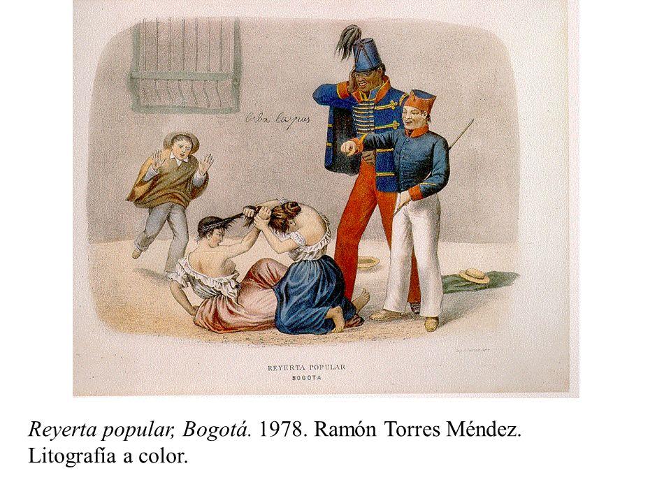 Reyerta popular, Bogotá. 1978. Ramón Torres Méndez. Litografía a color.