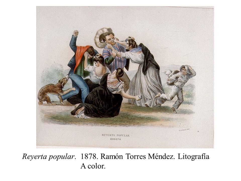 Reyerta popular.1878. Ramón Torres Méndez. Litografía A color.