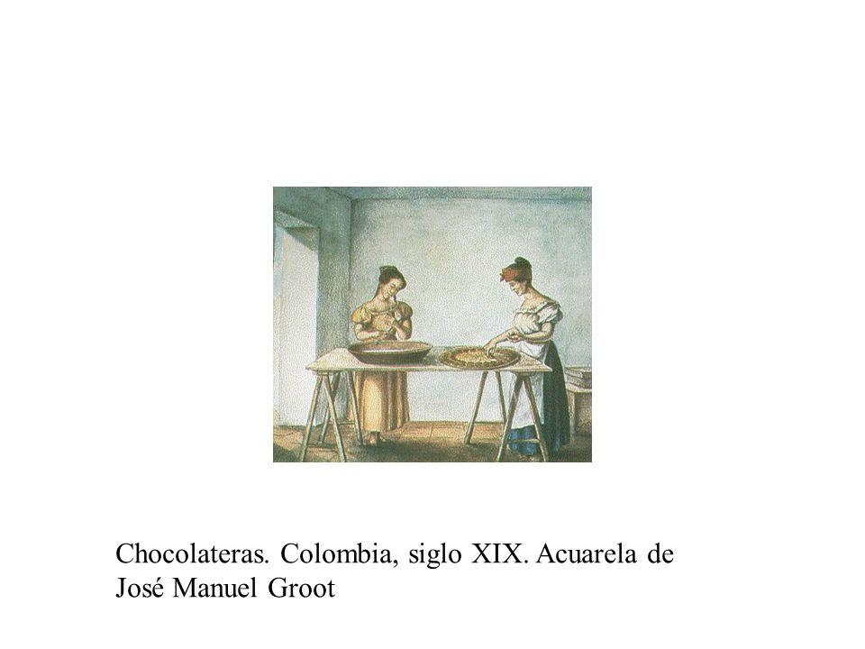 Chocolateras. Colombia, siglo XIX. Acuarela de José Manuel Groot
