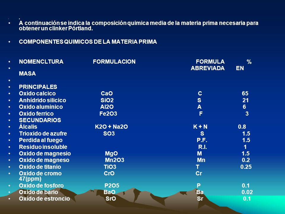 B A continuación se indica la composición quimica media de la materia prima necesaria para obtener un clinker Pórtland. COMPONENTES QUIMICOS DE LA MAT
