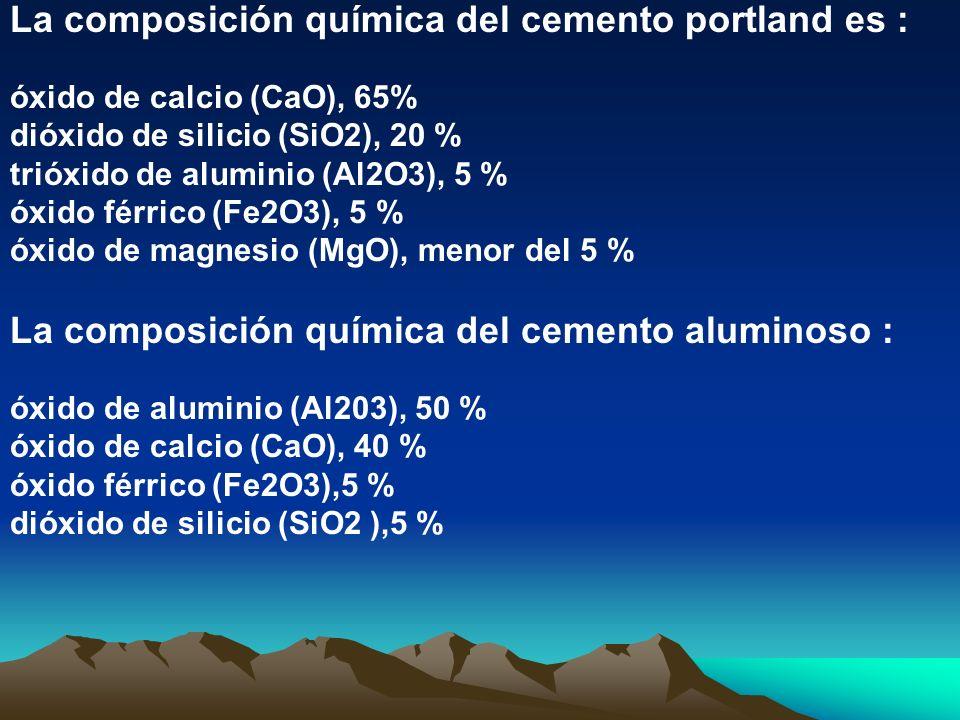 La composición química del cemento portland es : óxido de calcio (CaO), 65% dióxido de silicio (SiO2), 20 % trióxido de aluminio (Al2O3), 5 % óxido fé