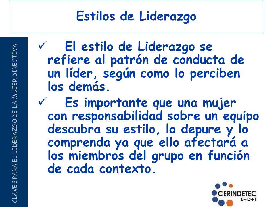 CLAVES PARA EL LIDERAZGO DE LA MUJER DIRECTIVA Estilos de Liderazgo El estilo de Liderazgo se refiere al patrón de conducta de un líder, según como lo
