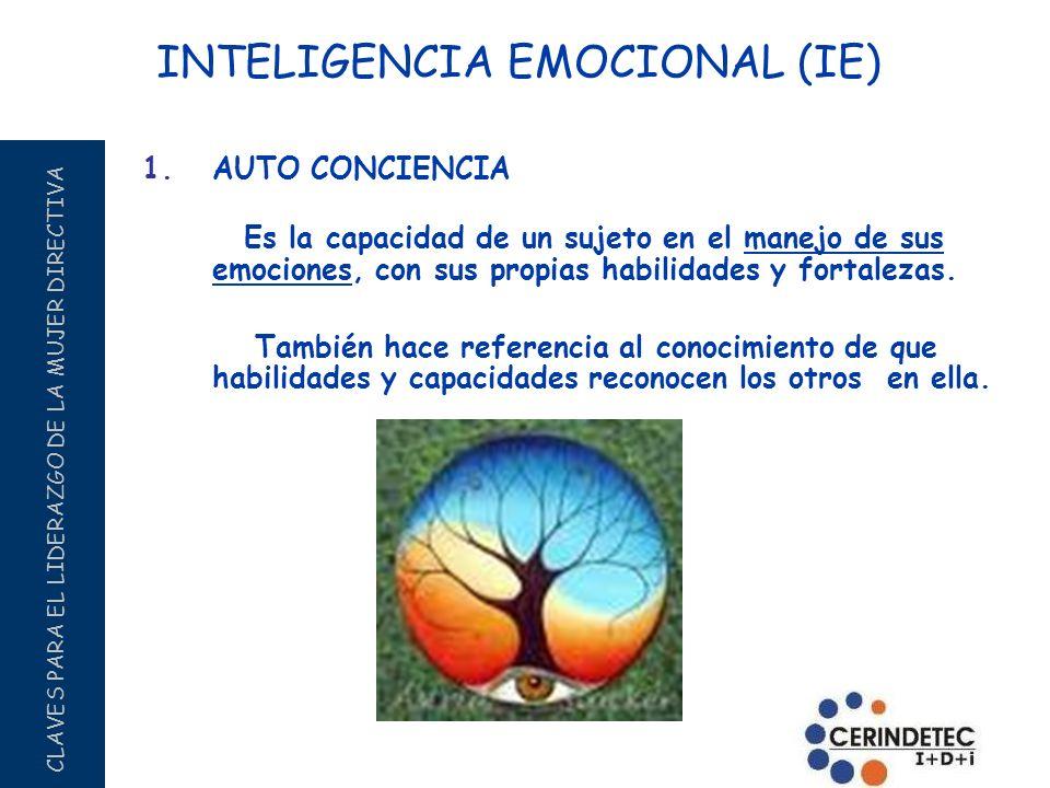 CLAVES PARA EL LIDERAZGO DE LA MUJER DIRECTIVA 1.AUTO CONCIENCIA Es la capacidad de un sujeto en el manejo de sus emociones, con sus propias habilidad