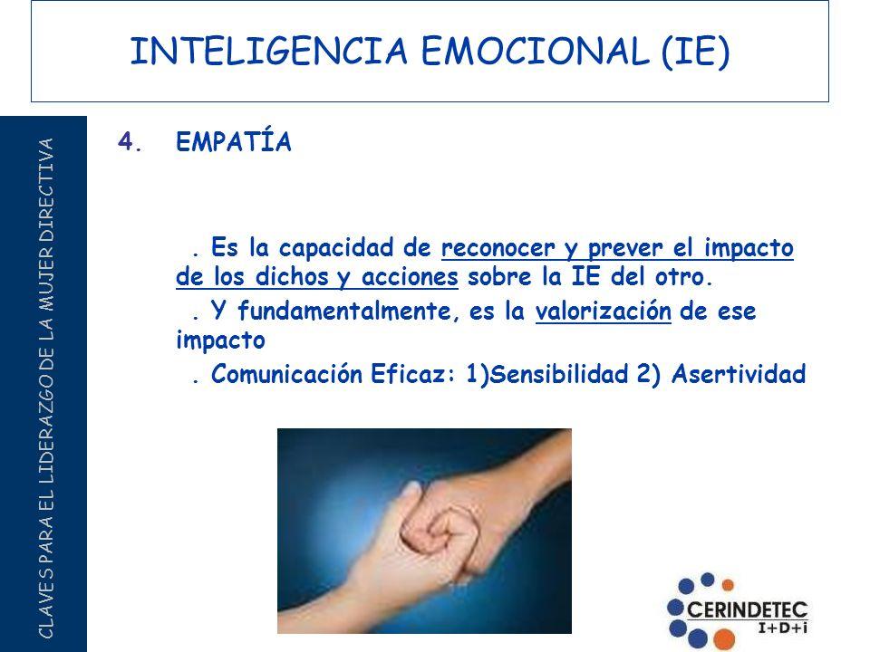 CLAVES PARA EL LIDERAZGO DE LA MUJER DIRECTIVA INTELIGENCIA EMOCIONAL (IE) 4.EMPATÍA. Es la capacidad de reconocer y prever el impacto de los dichos y