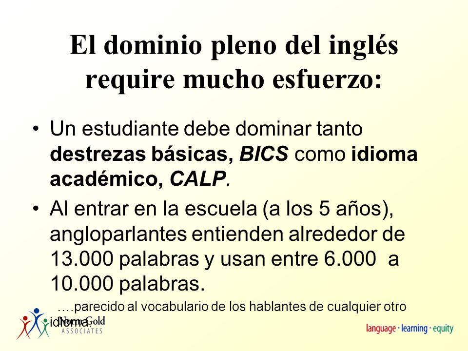Dimensiones de un idioma Destrezas básicas de comunicación entre personas –BICS – Basic Interpersonal Communication Skills Ejemplos Habilidad académica y cognoscitiva en un idioma –CALP – Cognitive Academic Language Proficiency Ejemplos