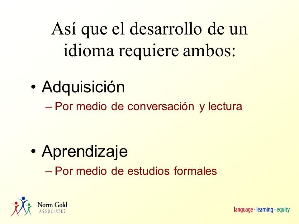 También incluye… Habilidades lingüísticas: –gramaticales, sociolingüísticas, conversacionales, estratégicas Habilidades de usar: –nociones y funciones: uso auténtico del idioma