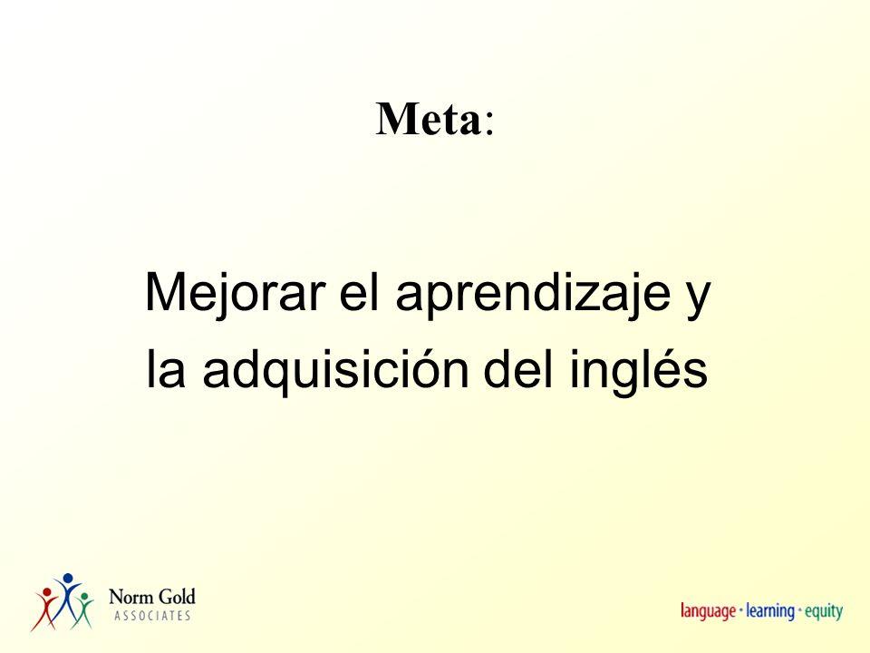 Meta: Mejorar el aprendizaje y la adquisición del inglés