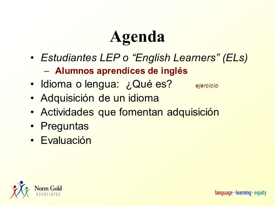 Objetivos Los participantes: 1) Aumentarán la comprensión de lo que es idioma.