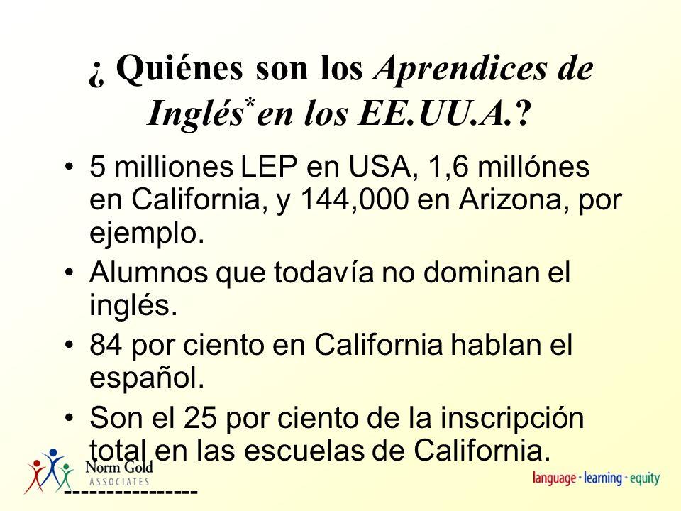 ¿ Quiénes son los Aprendices de Inglés * en los EE.UU.A..