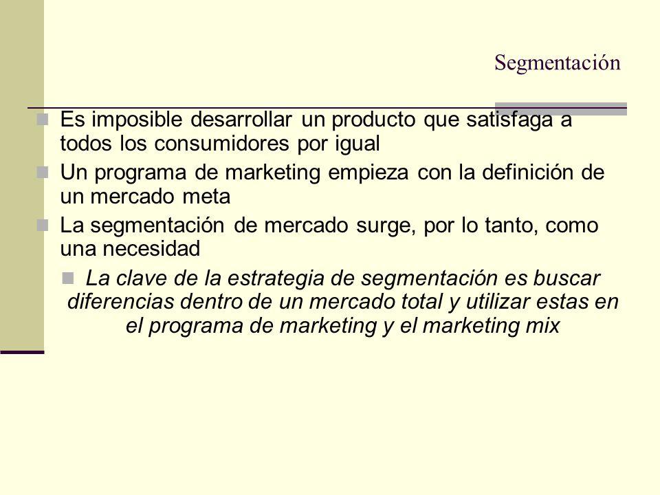 ¿Qué es la segmentación de mercados? Es dividir un mercado heterogeneo en submercados más pequeños y más homogeneos para hacer más eficaz la acción de