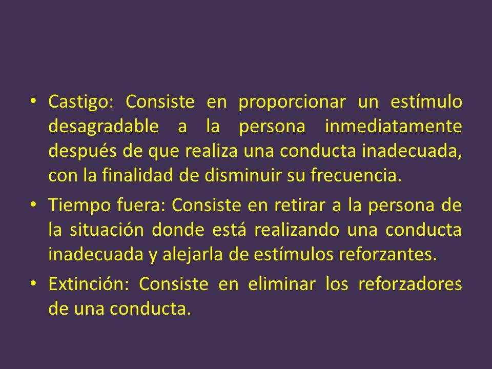 Castigo: Consiste en proporcionar un estímulo desagradable a la persona inmediatamente después de que realiza una conducta inadecuada, con la finalida