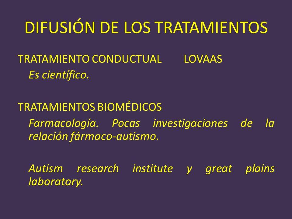 DIFUSIÓN DE LOS TRATAMIENTOS TRATAMIENTO CONDUCTUAL LOVAAS Es científico. TRATAMIENTOS BIOMÉDICOS Farmacología. Pocas investigaciones de la relación f