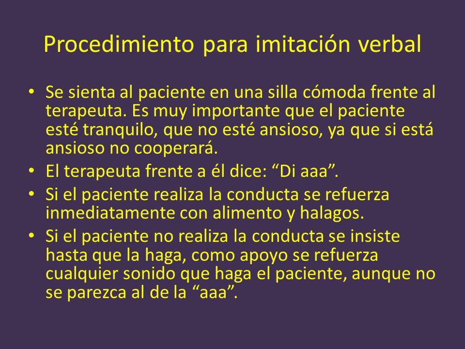 Procedimiento para imitación verbal Se sienta al paciente en una silla cómoda frente al terapeuta. Es muy importante que el paciente esté tranquilo, q
