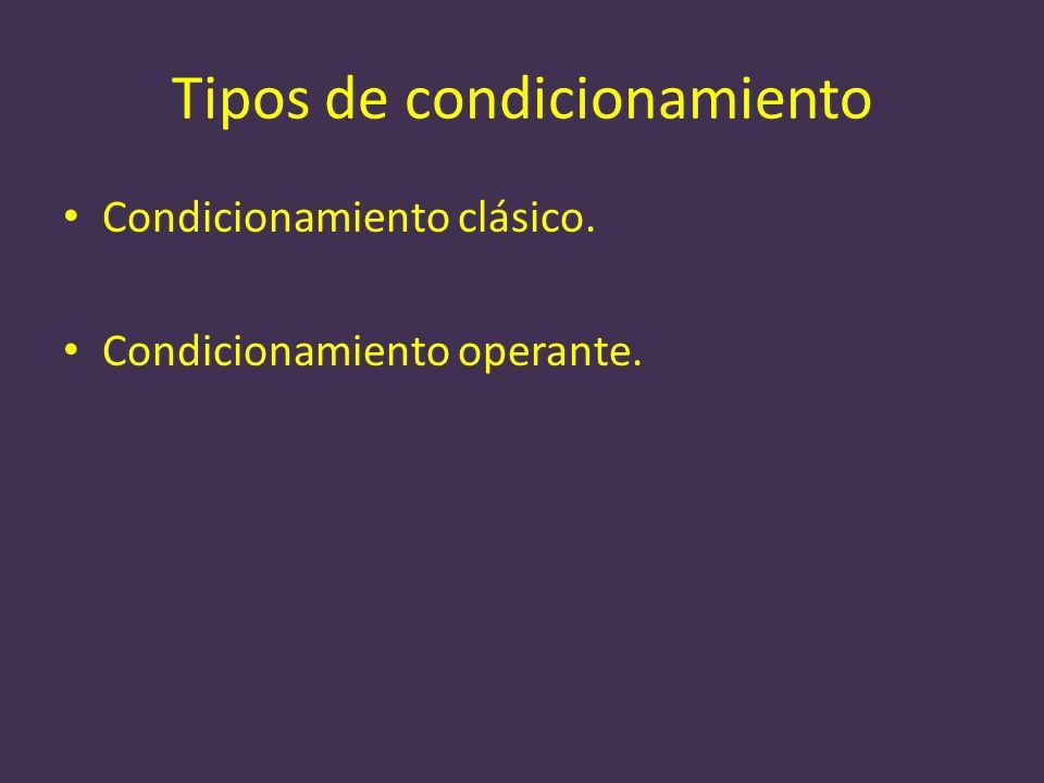 Tipos de condicionamiento Condicionamiento clásico. Condicionamiento operante.