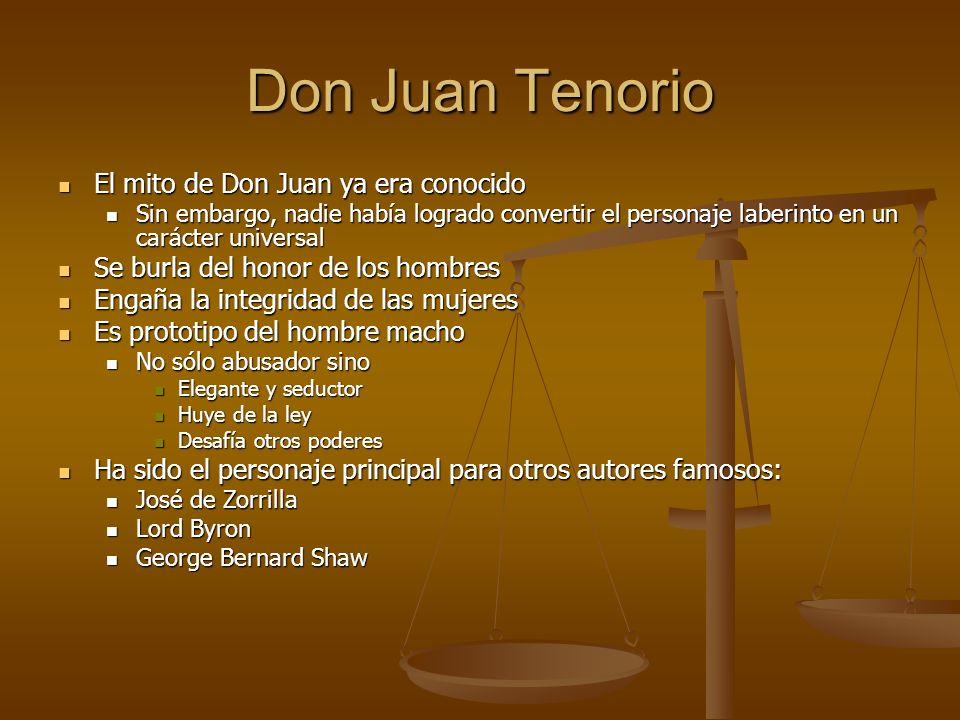 Don Juan Tenorio El mito de Don Juan ya era conocido El mito de Don Juan ya era conocido Sin embargo, nadie había logrado convertir el personaje laber