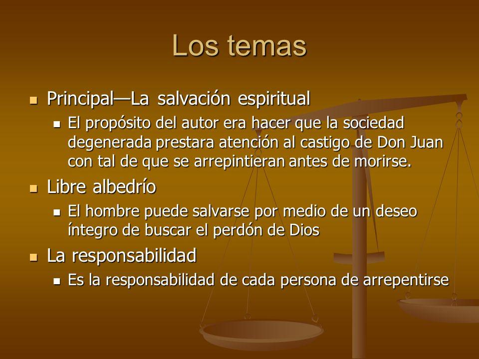 Los temas PrincipalLa salvación espiritual PrincipalLa salvación espiritual El propósito del autor era hacer que la sociedad degenerada prestara atenc
