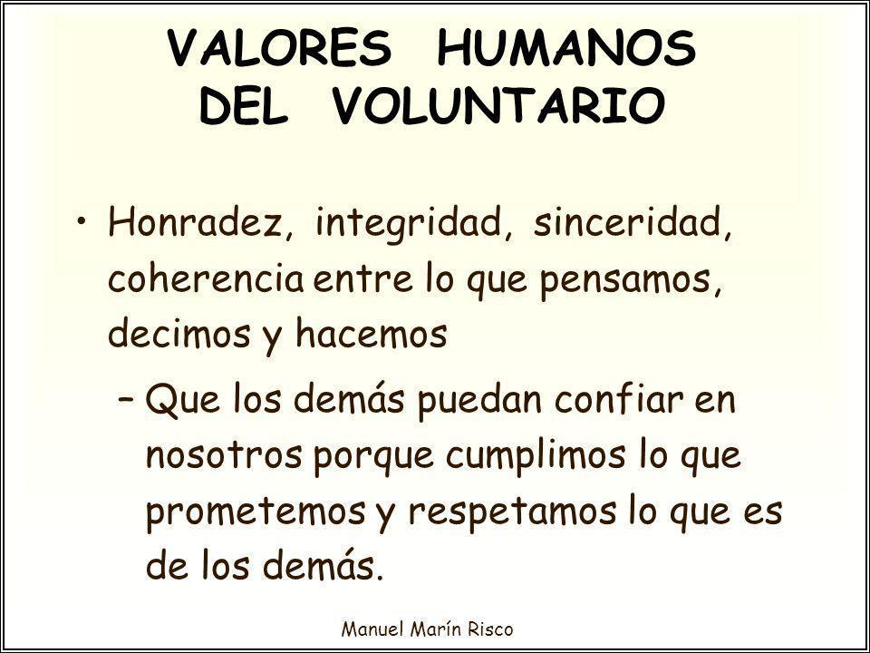 Manuel Marín Risco Honradez, integridad, sinceridad, coherencia entre lo que pensamos, decimos y hacemos –Que los demás puedan confiar en nosotros por