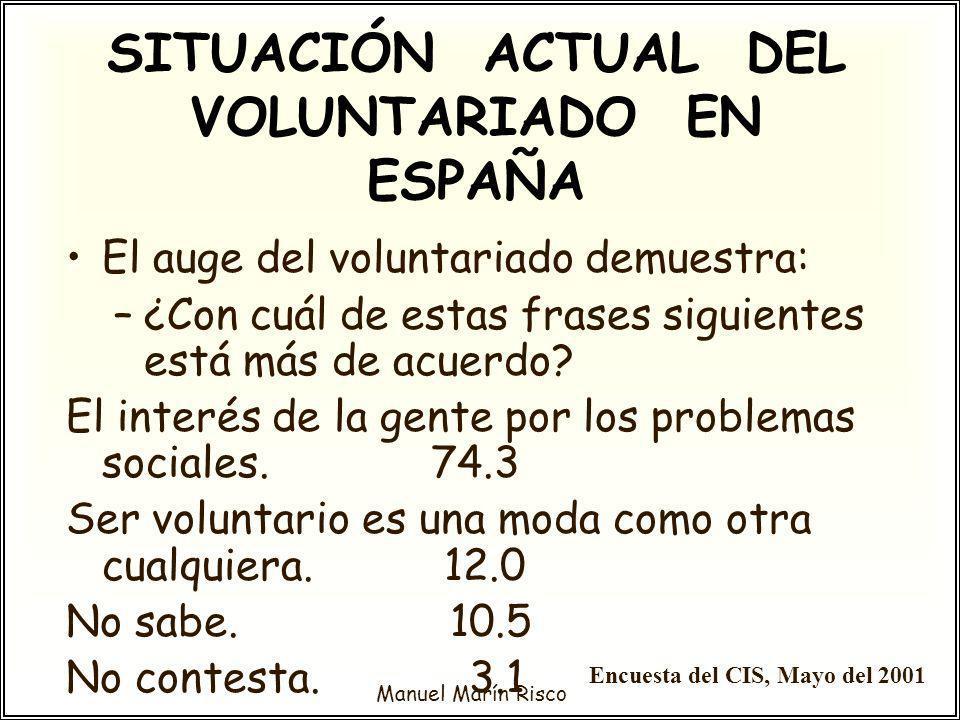 Manuel Marín Risco El auge del voluntariado demuestra: –¿Con cuál de estas frases siguientes está más de acuerdo? El interés de la gente por los probl