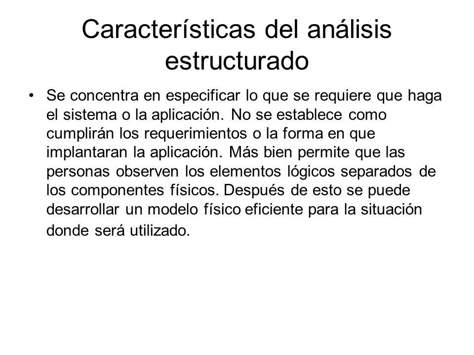 Características del análisis estructurado Se concentra en especificar lo que se requiere que haga el sistema o la aplicación. No se establece como cum